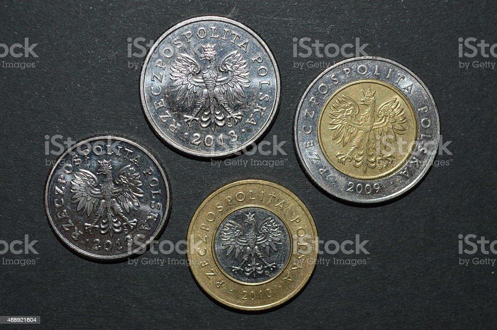 Moneda zloty polaco dinero pln lateral posterior foto de stock libre de derechos