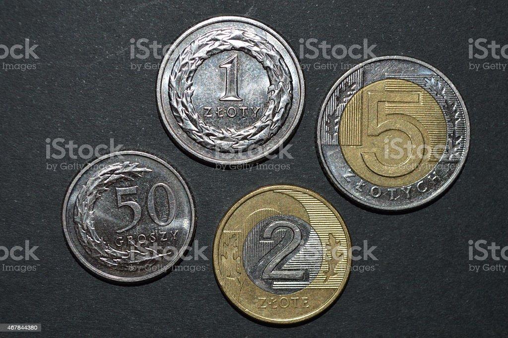 Moneda zloty polaco dinero pln frontal foto de stock libre de derechos