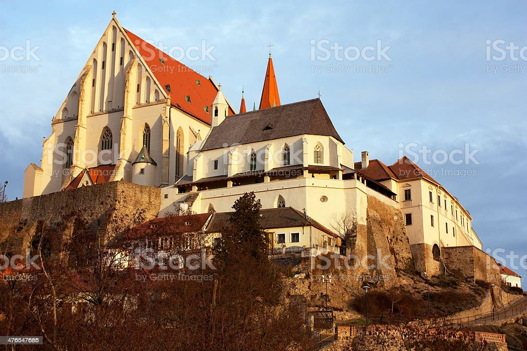 Znojmo, Czech Republic - evening sunshine on church stock photo