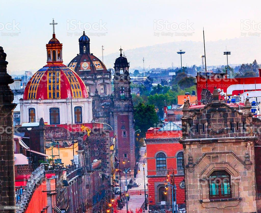 Zocalo Churches Domes Mexico City Mexico stock photo