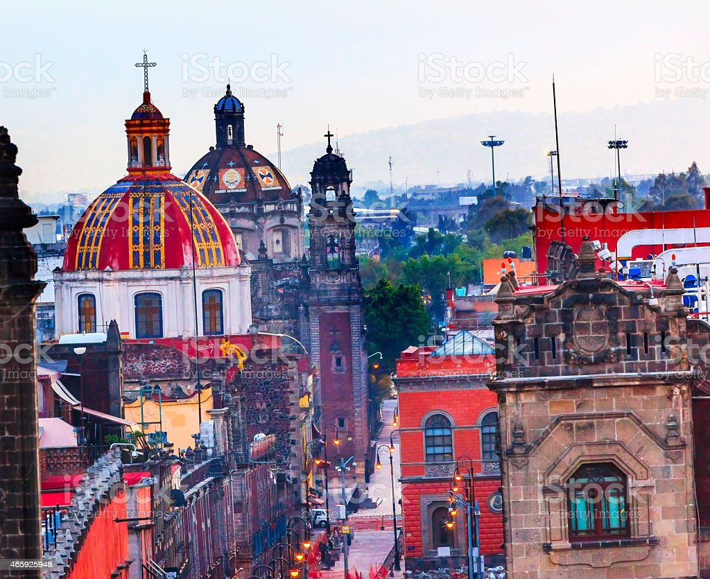 Zocalo Churches Domes Mexico City Mexico stock photo