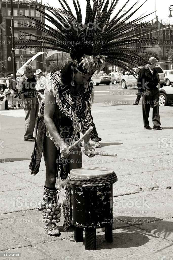 Zocalo Mexico City Aztec reenactment drumer tradional clothing stock photo