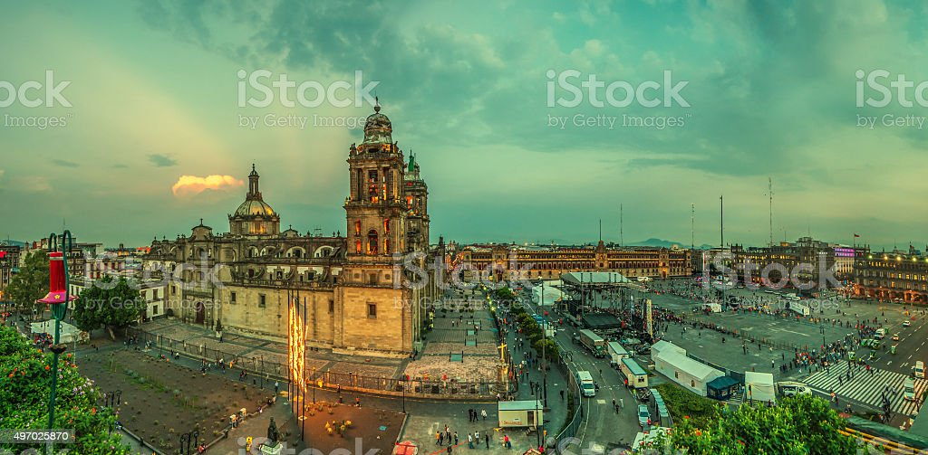 Zocalo square and Metropolitan cathedral of Mexico city stock photo