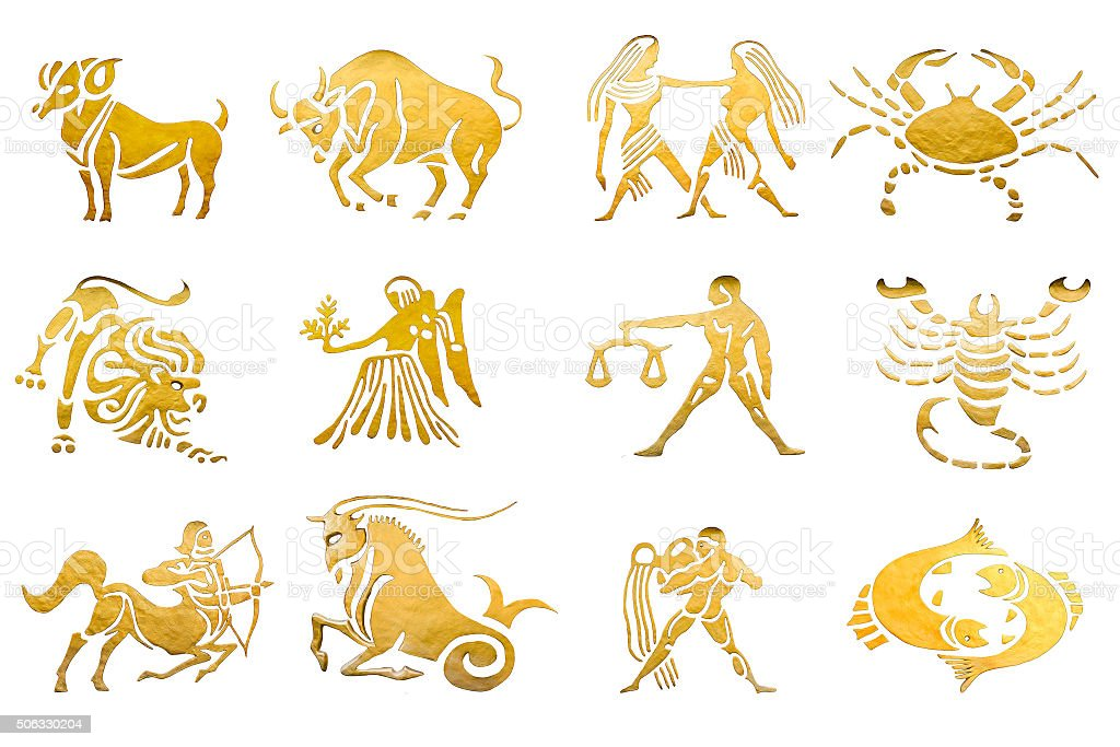 Zodiac and star signs horoscopes isolated on white stock photo
