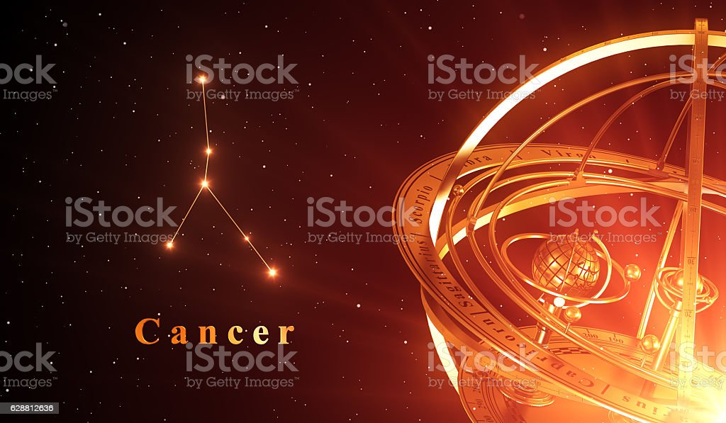 Zodiac Constellation Cancer And Armillary Sphere Over Red Background stock photo