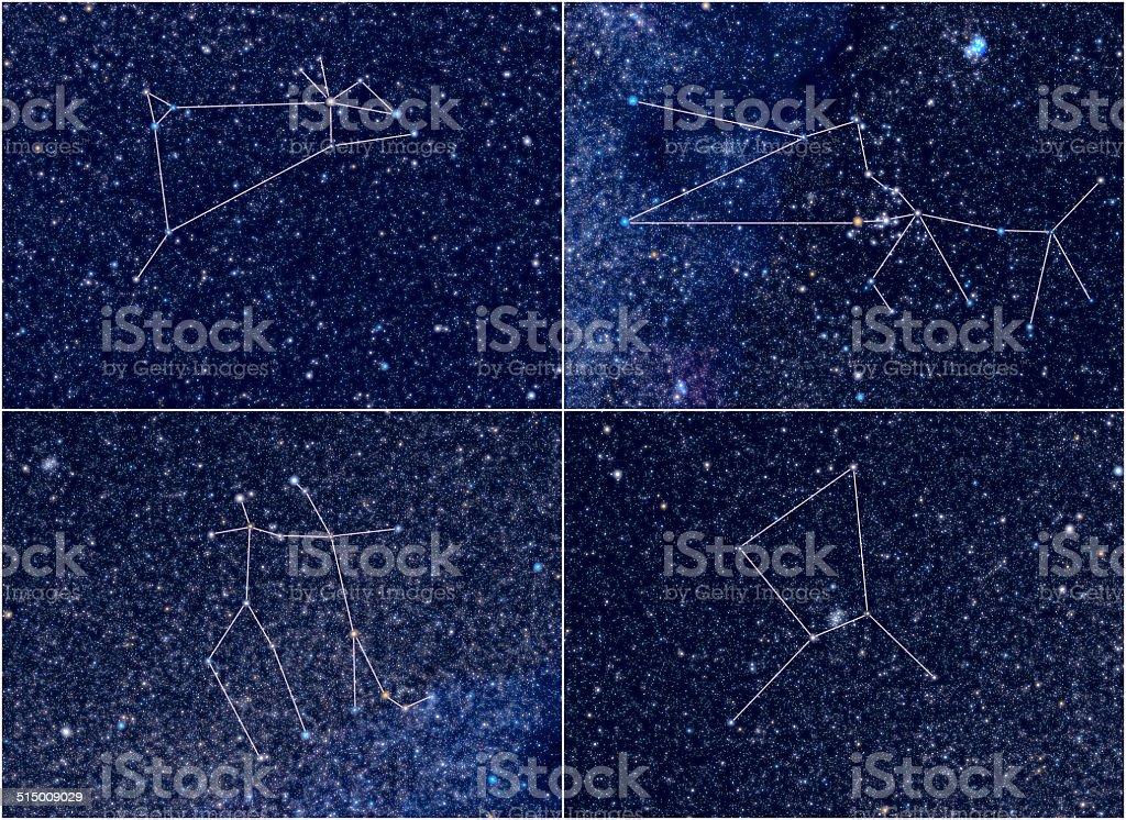Zodiac constellations Aries Taurus Gemini Cancer stock photo