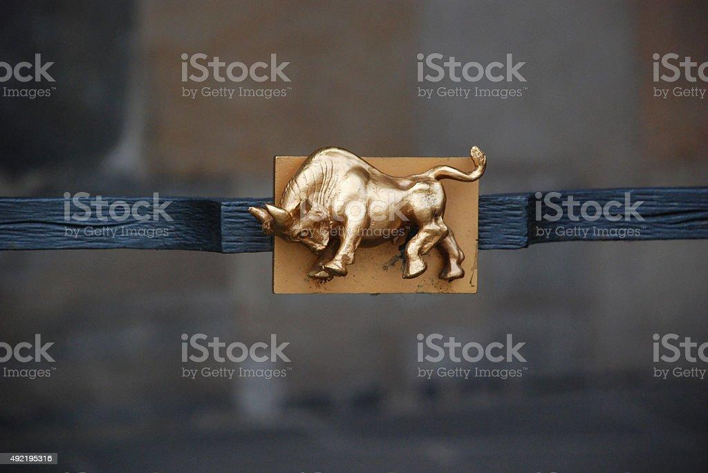Zodiac Sign Sculpture in Metal stock photo