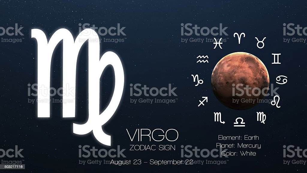 Zodiac sign - Virgo. Cool astrologic infographics. Elements of this stock photo