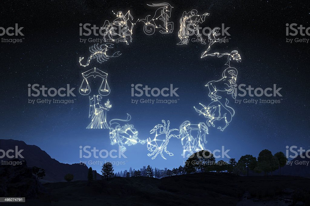 Zodiac Sign's on a gradient sky background stock photo