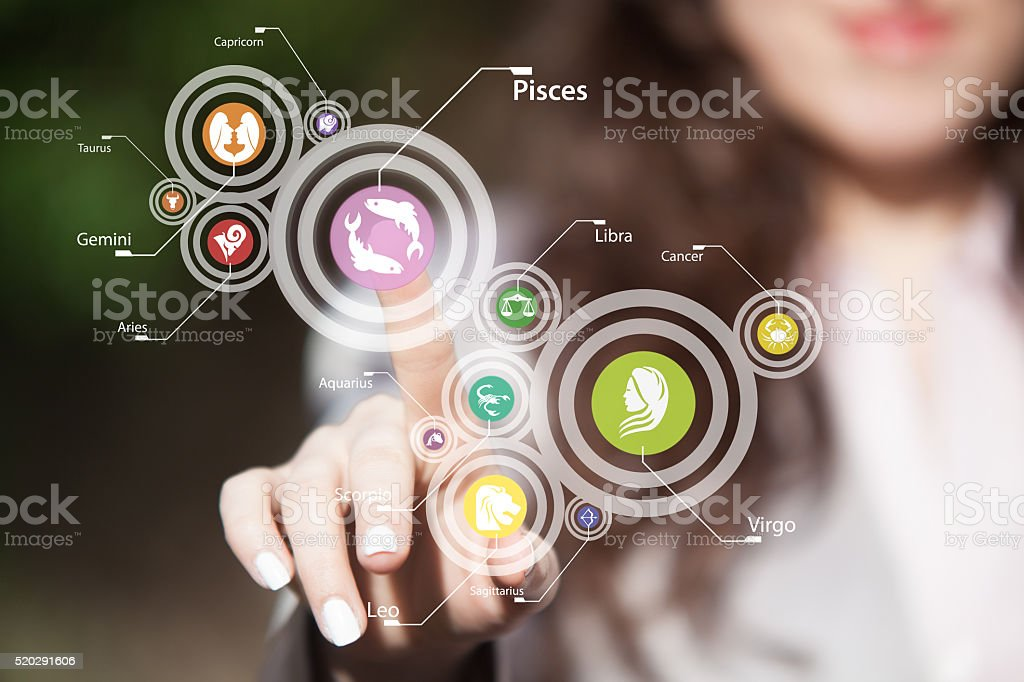 Zodiac signs on touch screen. stock photo