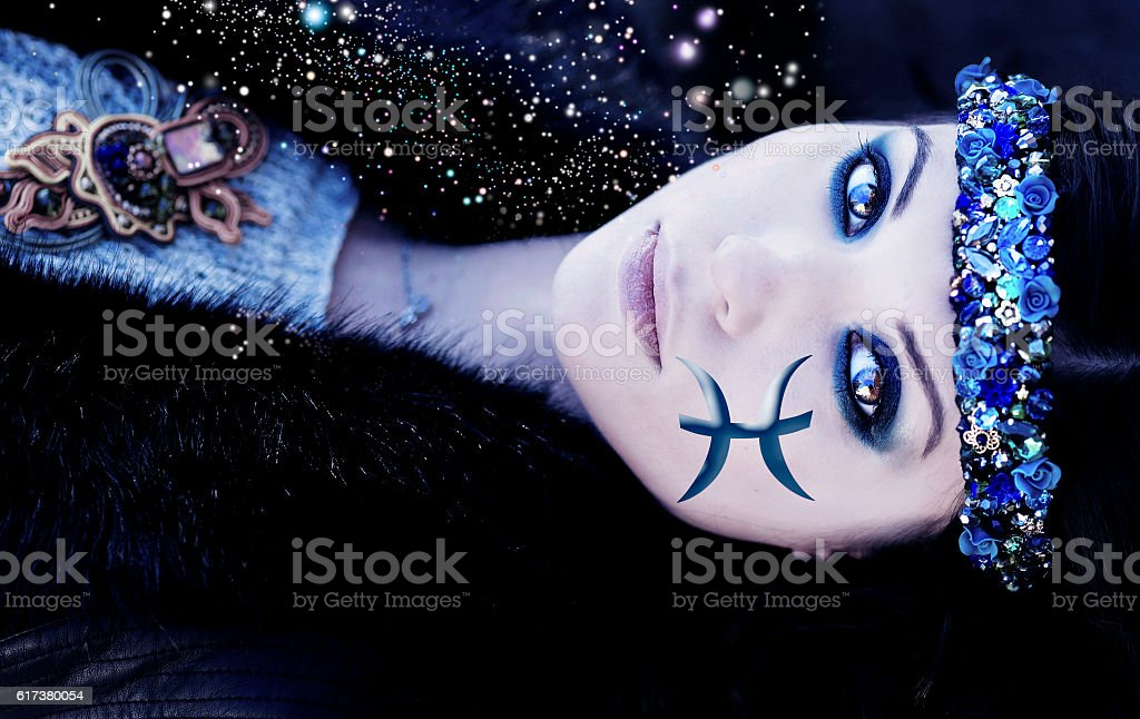 Zodiac signs, woman of water elements of fish stock photo