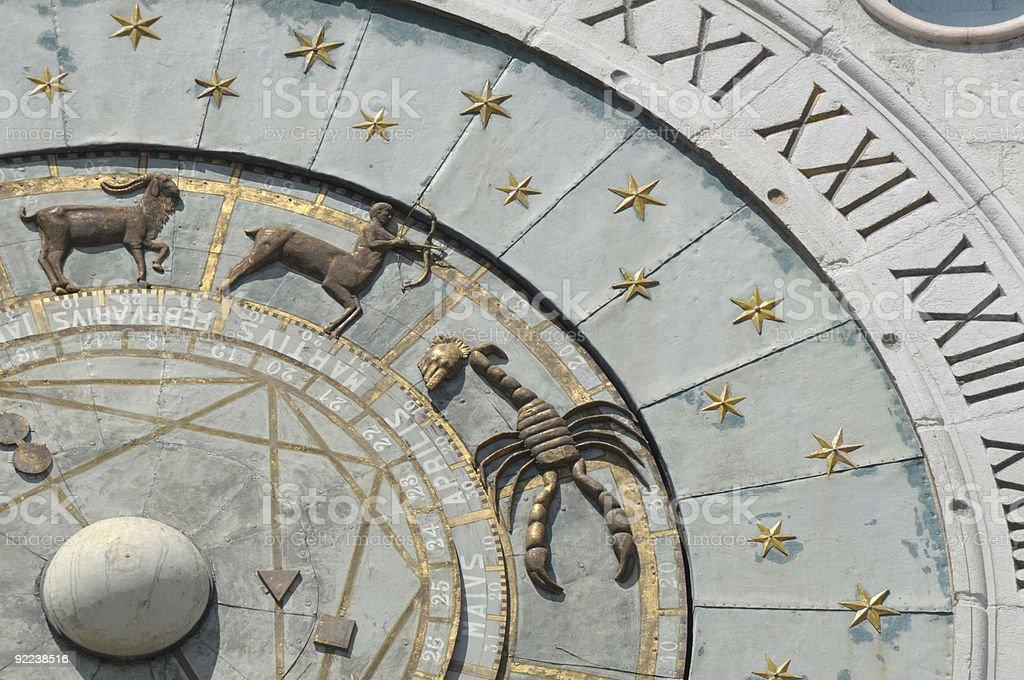 Zodiacal wall clock stock photo