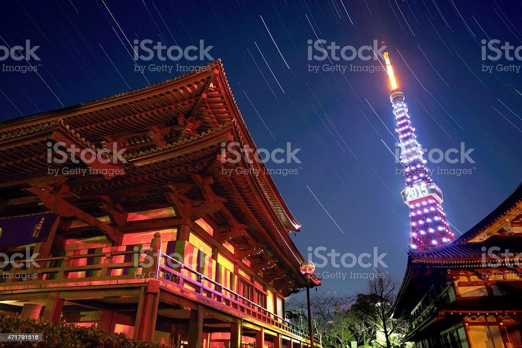 zojoji and tokyo tower stock photo