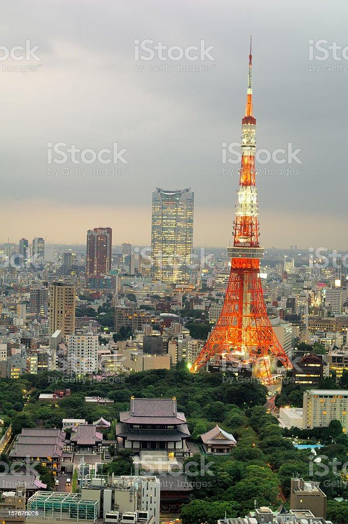 Zojoji Temple and Tokyo Tower at dusk royalty-free stock photo