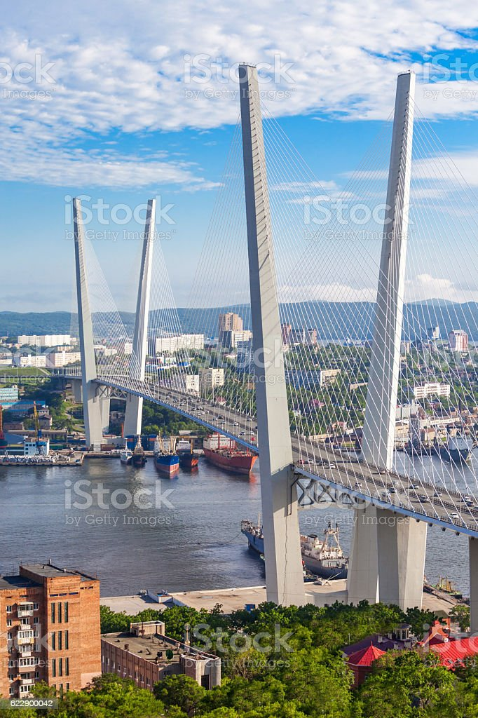 Zolotoy Golden Bridge, Vladivostok stock photo