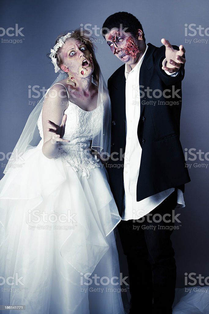 Zombie Bride and Groom royalty-free stock photo