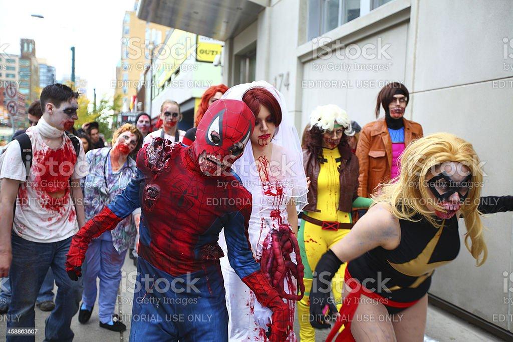Zombie Crowd in Toronto royalty-free stock photo