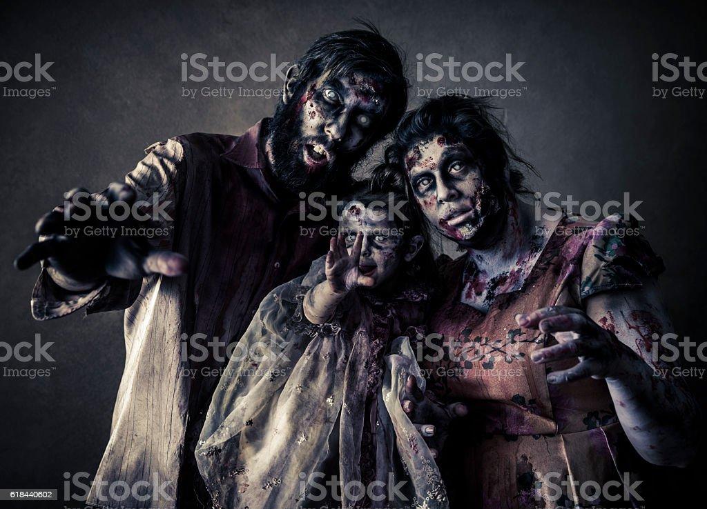 Zombie Family stock photo