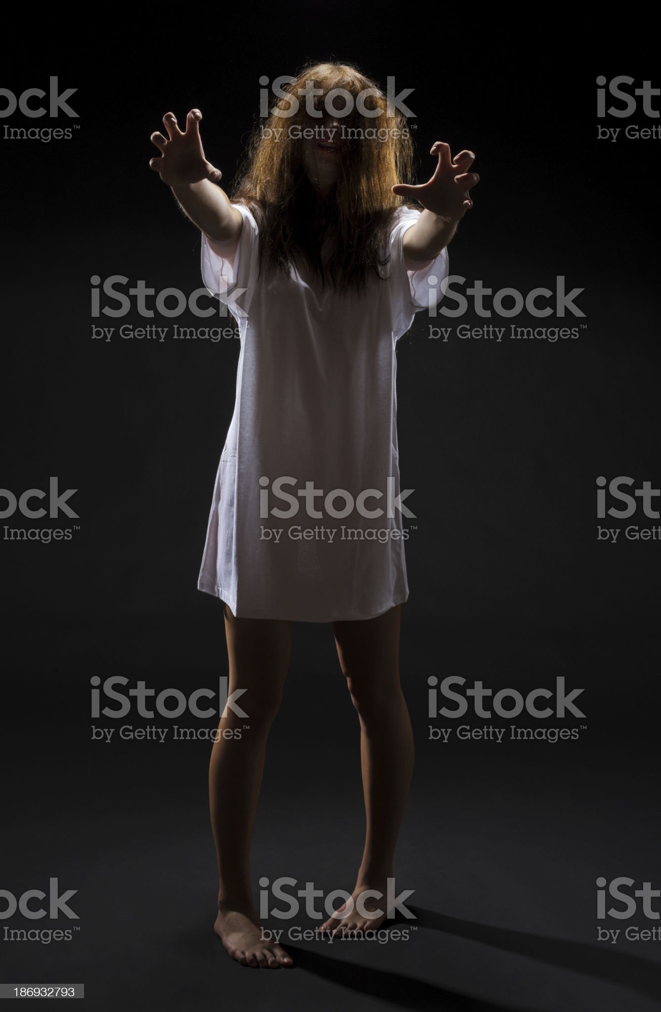 Zombie girl on black royalty-free stock photo