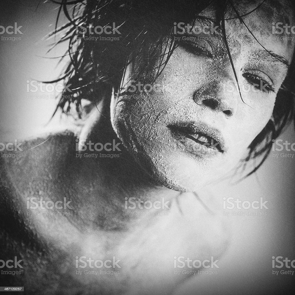 Zombie, grungy female portrait with added scratched texture royalty-free stock photo