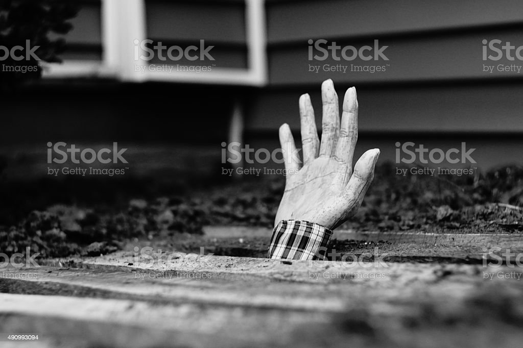 Zombie Hand Emerging From the Ground stock photo
