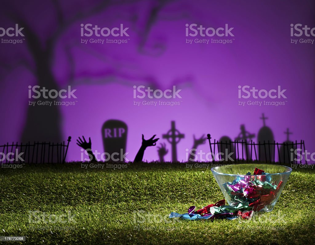 Zombie hands and graveyard royalty-free stock photo