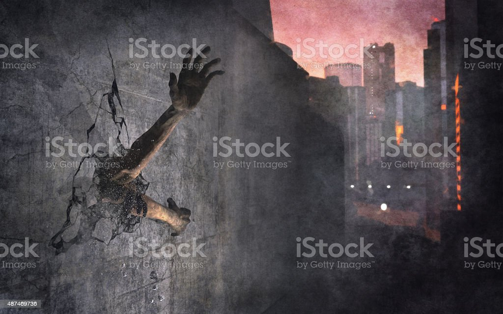 Zombie hands reaching out stock photo