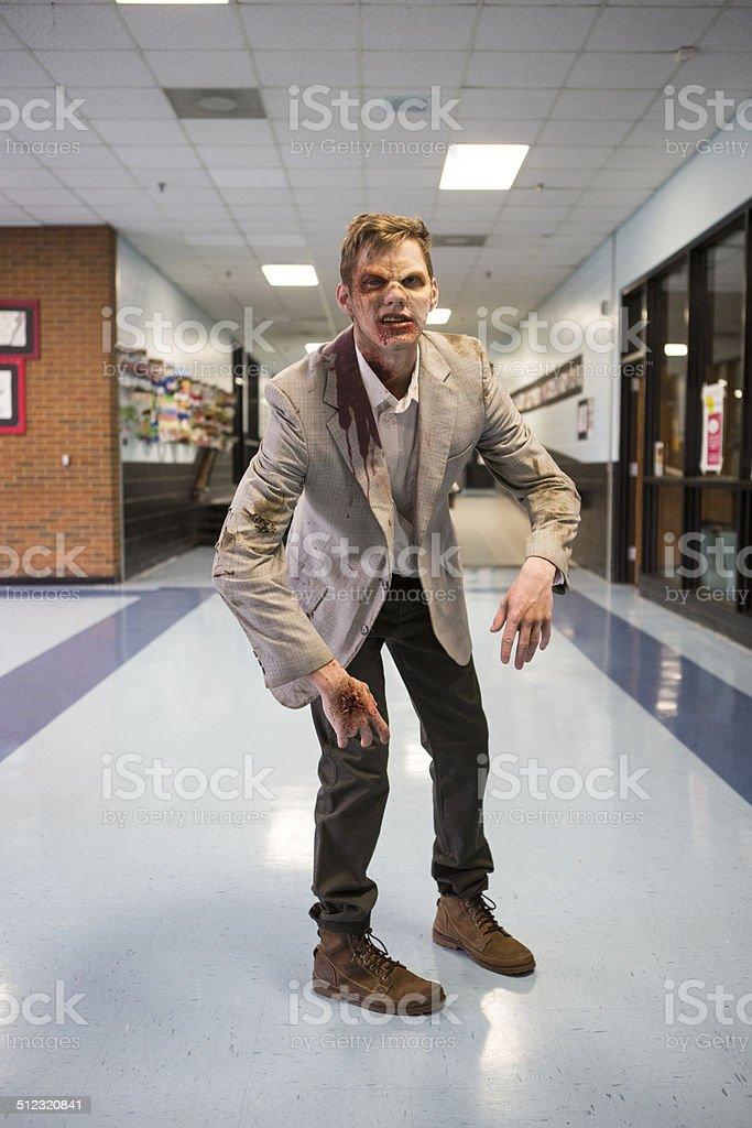 Zombie in the hallway stock photo