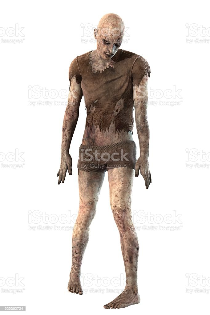 Zombie isolated on white background stock photo