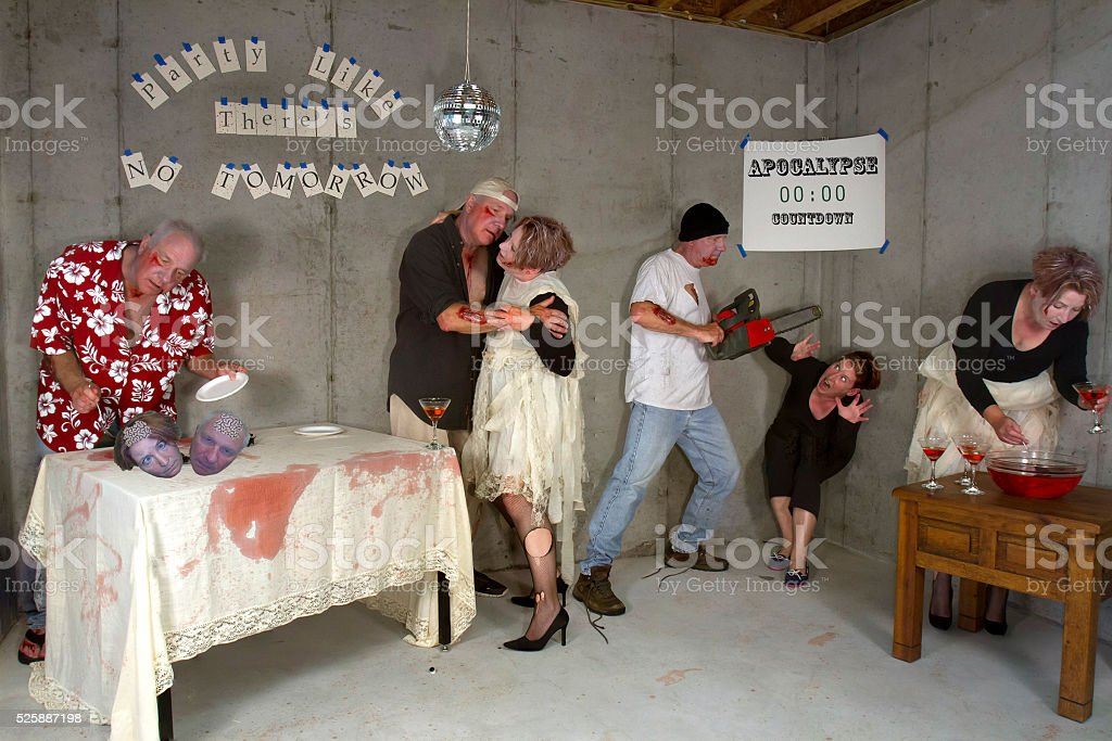 Zombie Post Apocalypse Ball, Party Like There's No Tomorrow stock photo