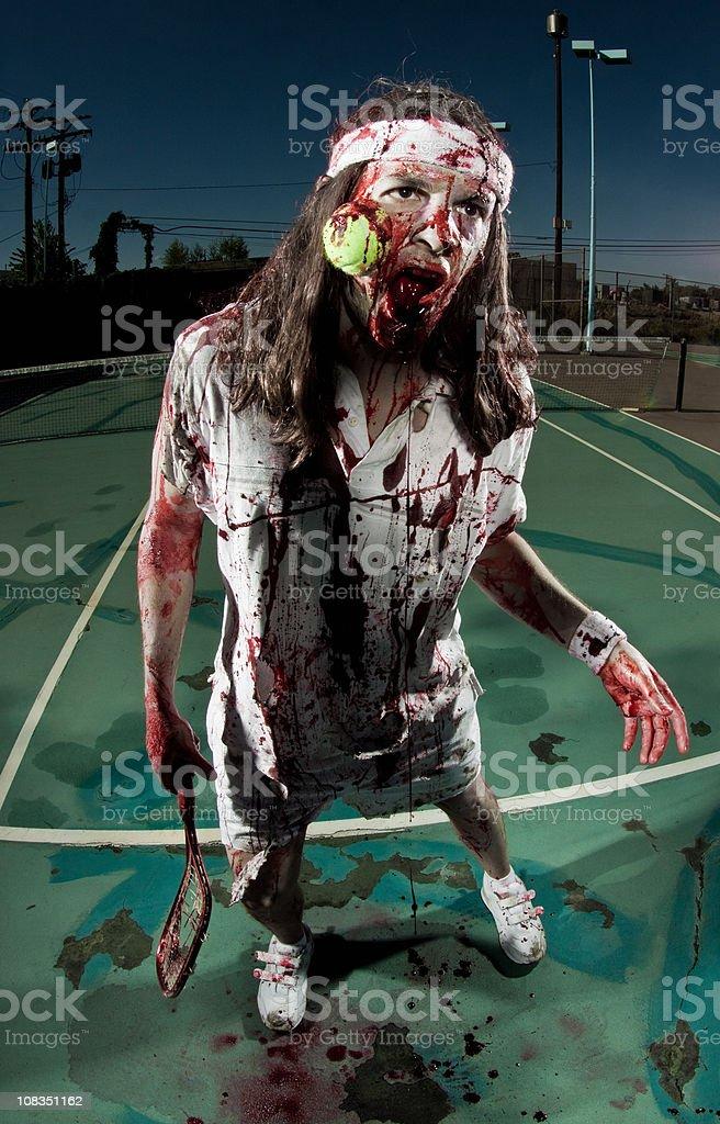 zombie tennis player stock photo