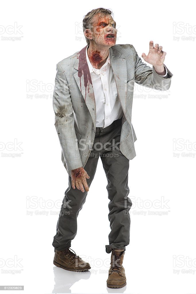Zombie walking and reaching stock photo