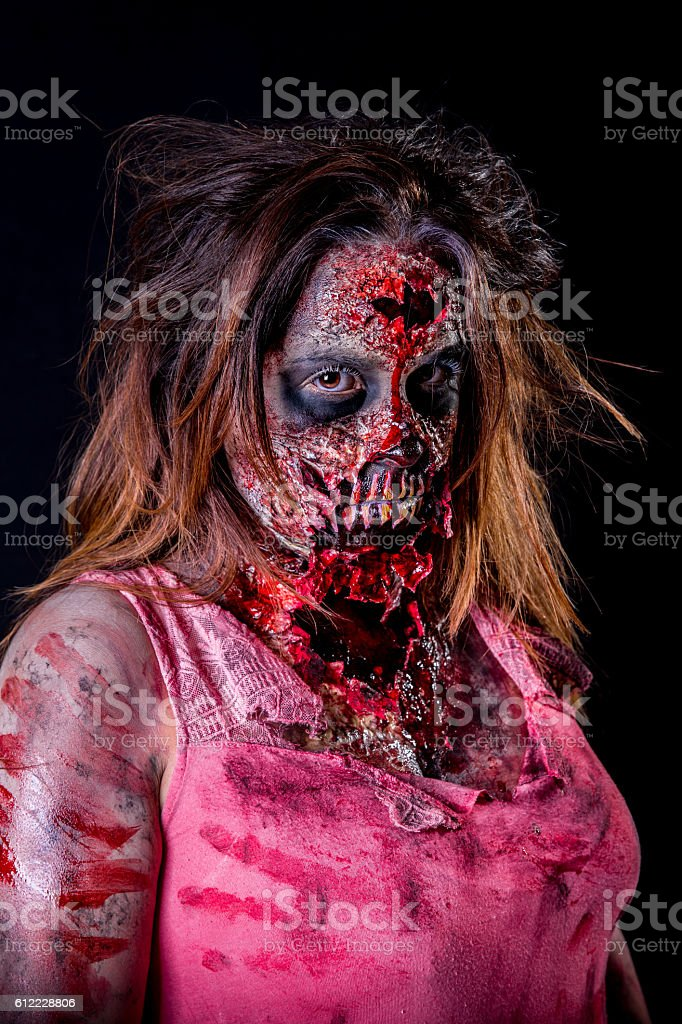 Zombie woman staring stock photo