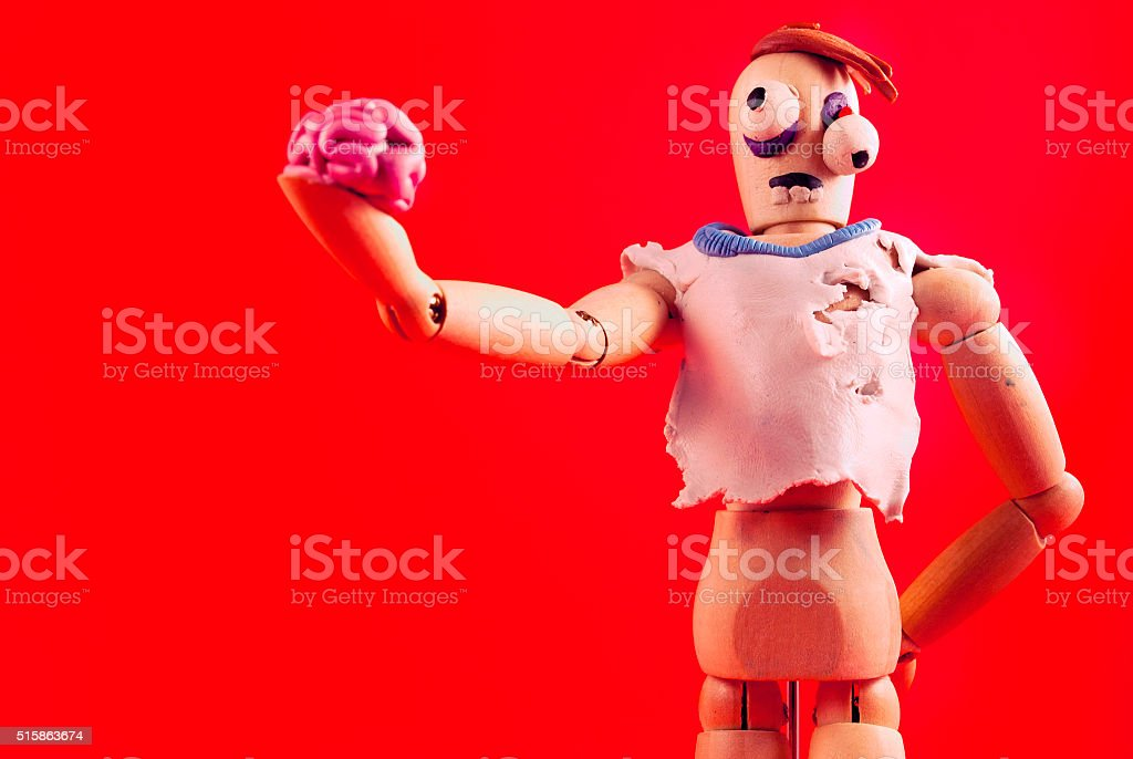 Zombie wooden dummy. stock photo