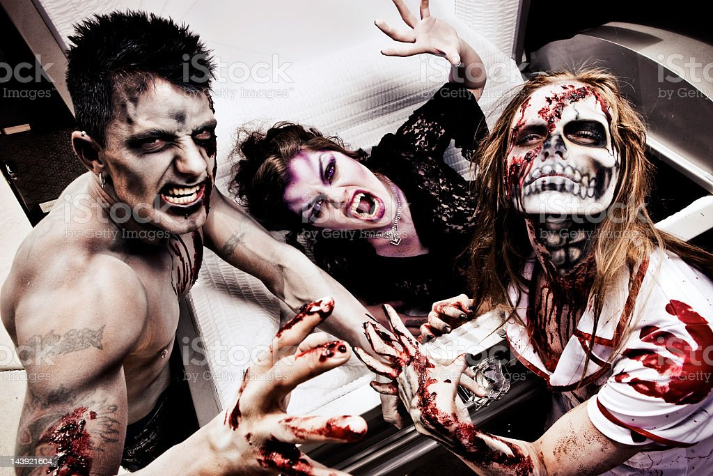 Zombies and Vampire Attack stock photo