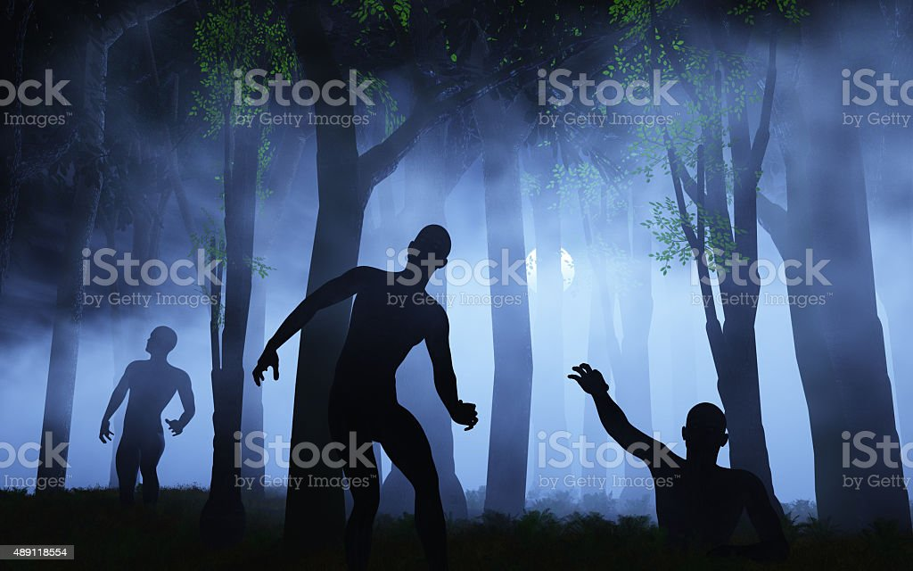 3D zombies in spooky foggy forest stock photo