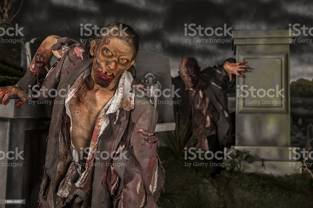 Zombies in the graveyard royalty-free stock photo