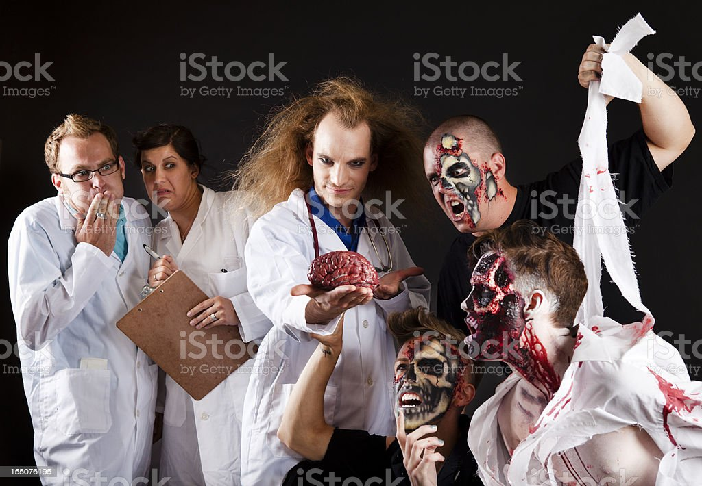 Zombies VS Scientists stock photo