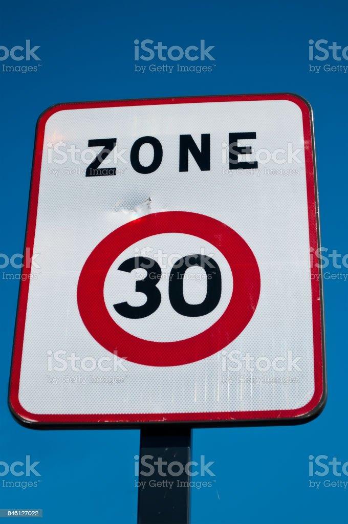 zone 30 limitated indicate panel stock photo