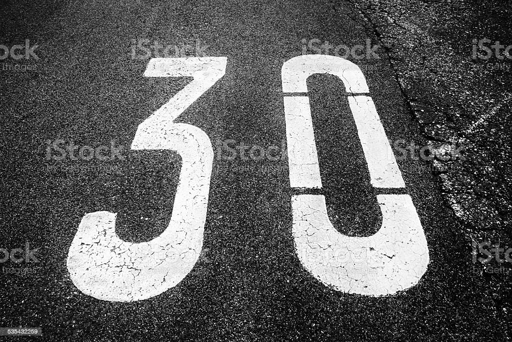 zone 30 sign stock photo