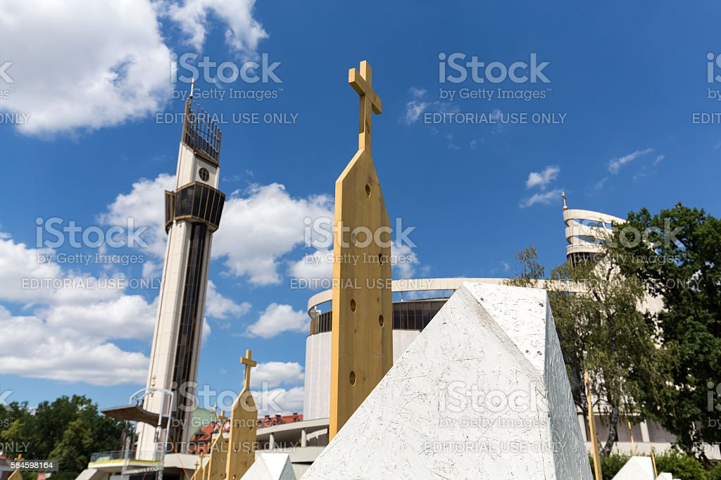 Zone of Reconciliation at the Sanctuary of Divine Mercy in Lagiewniki stock photo