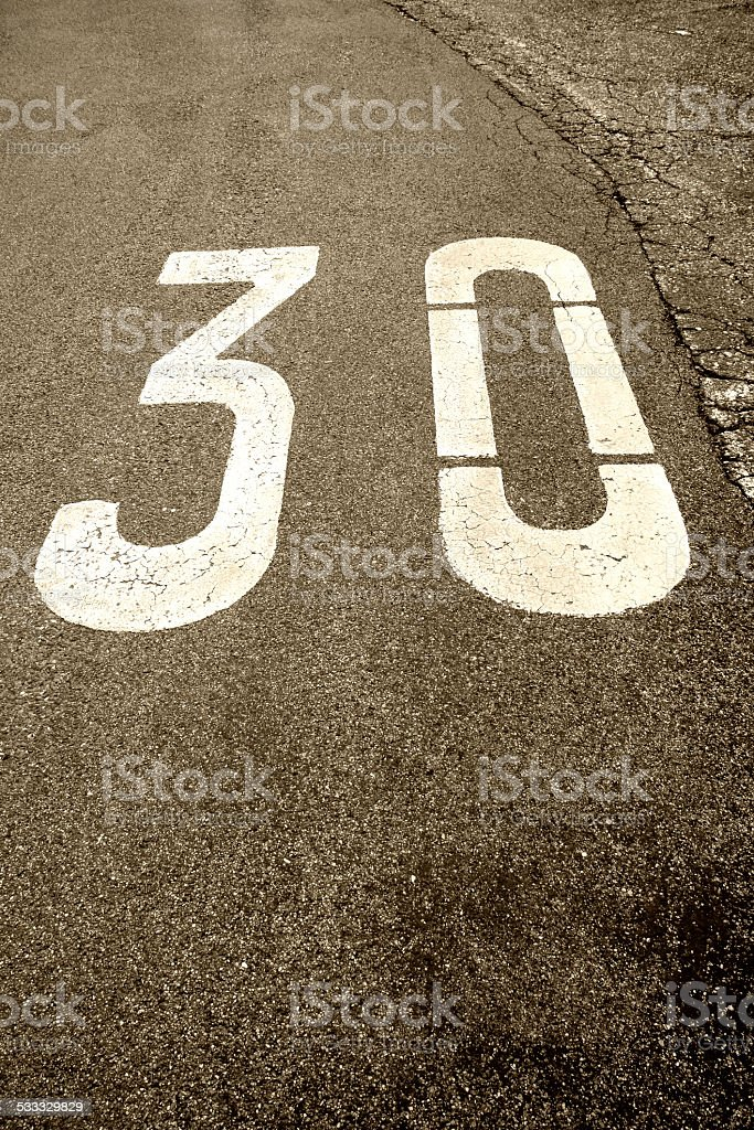 30 zone sign stock photo