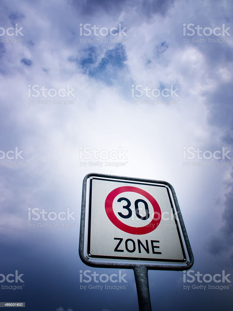 zone sign, speed limit 30 stock photo