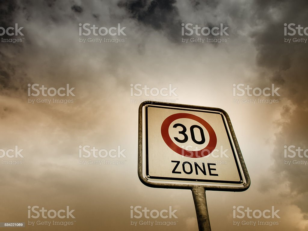 30 zone sign, speed limit stock photo