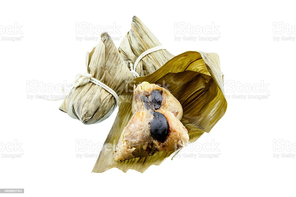 Zongzi, a traditional Chinese food made of glutinous rice. stock photo