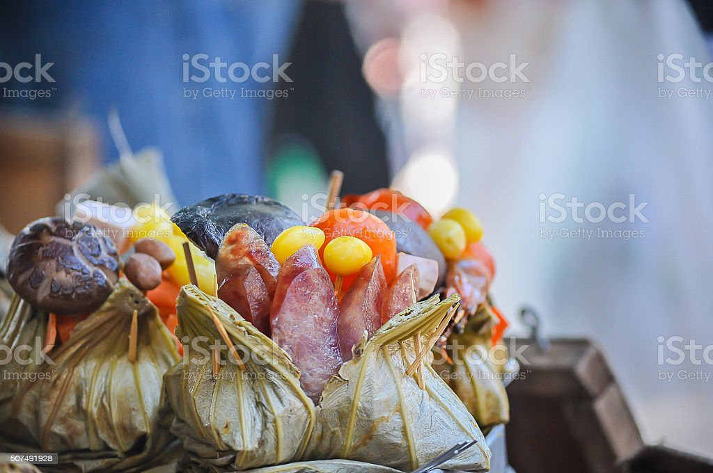 Zongzi , Chinese Rice Dumplings in market stock photo
