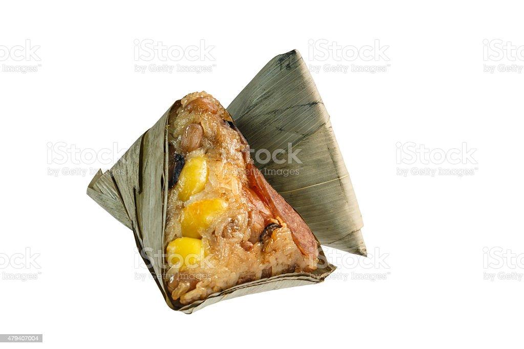 Zongzi or Chinese sticky rice dumpling on white background. stock photo