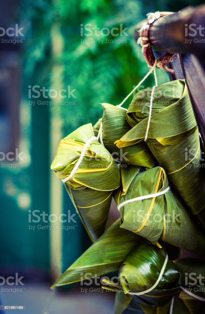 Zongzi, Traditional Chinese Rice Dumplings for Dragon Boat Festival stock photo