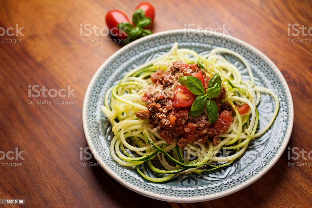Zoodles with bolognese stock photo