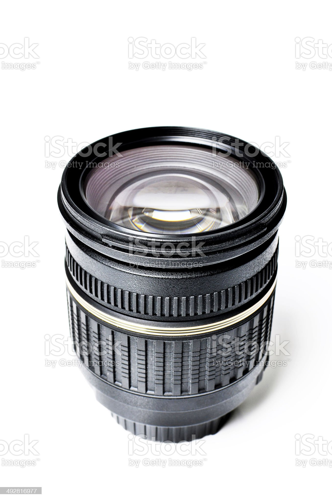 Zoom autofocus lens for DSLR camera on isolated white background royalty-free stock photo